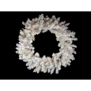 "24"" B/O Pre-Lit Snow White Artificial Christmas Wreath - Multi-Color LED Lights"