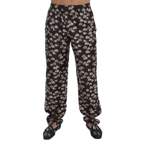 Dolce & Gabbana Dolce & Gabbana Brown Hedgehog SILK Pajama Lounge Pants - S
