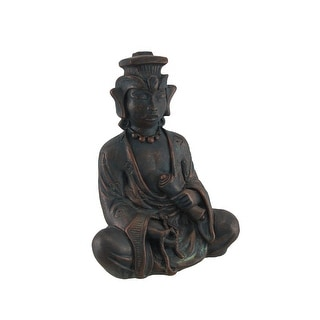 Meditating Buddhist Antique Bronze Finish Statue - 10 X 7.5 X 5 inches
