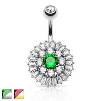 Princess Cut CZ with CZ Triple Tier Cluster Vintage Belly Button Navel Ring - 14GA (Sold Ind.)