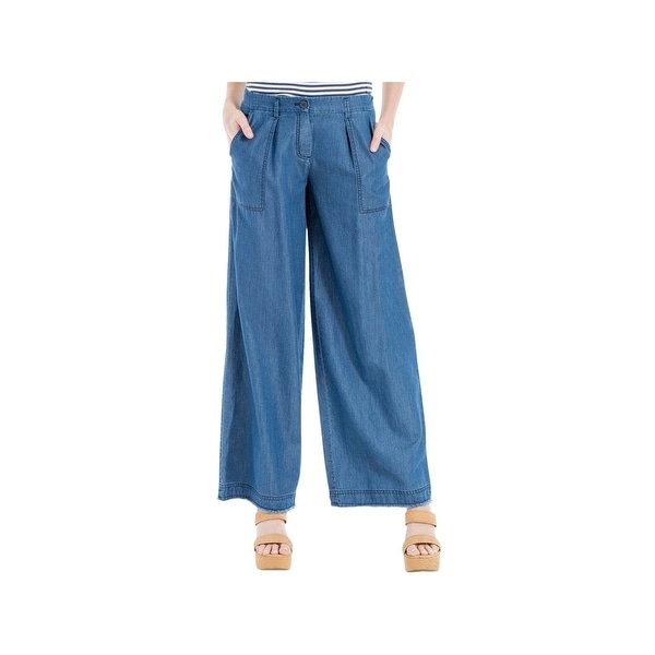 15145d4e015 Shop Max Studio Womens Odette Wide Leg Pants Tencel Blend Casual ...