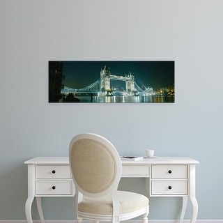 Easy Art Prints Panoramic Image 'Low angle view of a bridge lit up at night, Tower Bridge, London, England' Canvas Art