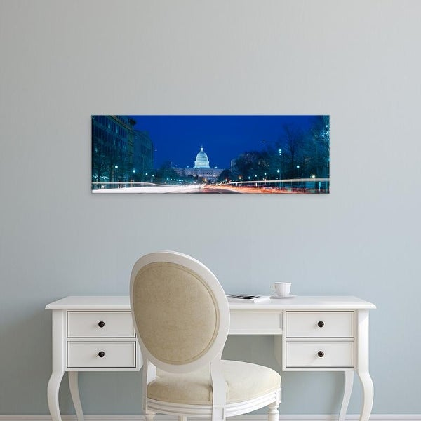 Easy Art Prints Panoramic Images's 'Building lit up, Capitol Building, Pennsylvania Avenue, Washington DC' Canvas Art