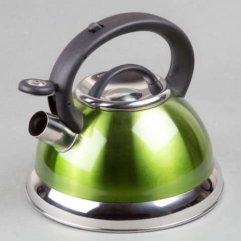 Creative Home Alexa 3.0 Quart Stainless Steel Whistling Tea Kettle with Aluminum Capsulated Bottom, Metallic Chartreuse