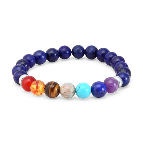 Sterling Silver with Genuine Chakra and lapis Beads Stretch Bracelet