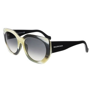 Balenciaga BA0017 64B Olive Horn Square Sunglasses - olive horn - 57-20-140
