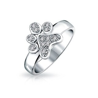 Link to CZ BFF Pet Dog Cat Puppy Kitten Paw Print Ring Silver Plated Brass Similar Items in Rings