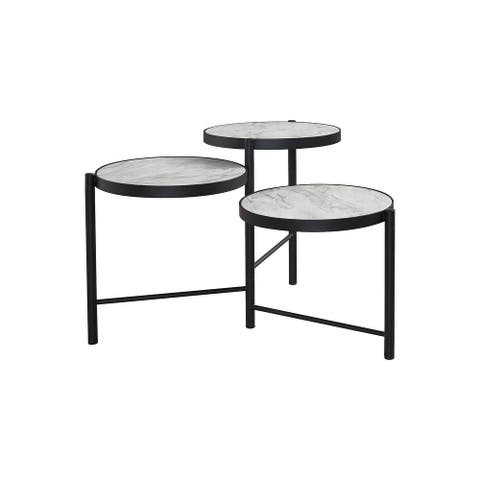 "Plannore Contemporary Black/White Round Cocktail Table - 35""W x 35""D x 20""H"