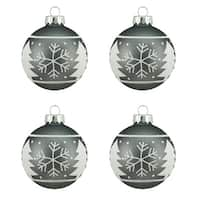 "4ct Alpine Chic Matte Gray with White Snowflake Design Glass Ball Christmas Ornaments 2.5"" (65mm)"
