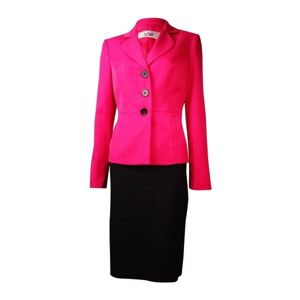 Le Suit Women's The Hamptons Colorblock Skirt Suit - deep rose/black