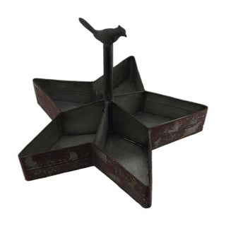 Red Rustic Bird On Star Shaped Divided Metal Organizer - 11 X 16 X 16 inches