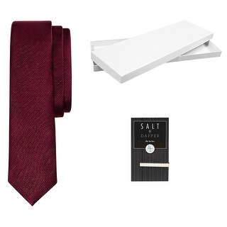 Salt & Dapper Men's Woven Silk Luxury Tie With Tie Bar & Giftbox Burgundy Solid - One size