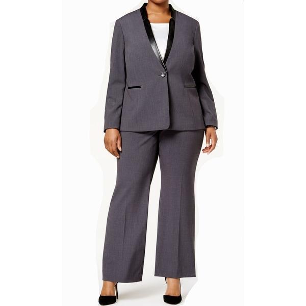 2cc6980b08d Shop Tahari by ASL Gray Womens Size 14W Plus Satin-Trimmed Pant Suit ...