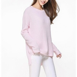 Womens Relaxed Fit Round Neck Sweater in Pink - Pink - M