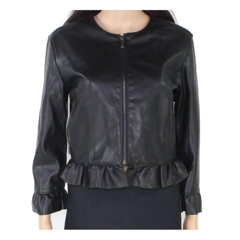 Stoosh Women's Black Size Medium M Faux Leather Peplum Full Zip Jacket
