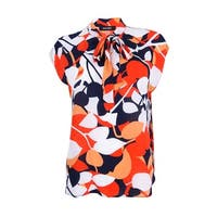 Nine West Women's Printed Tie-Neck Blouse - tangerine multi