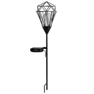 "25.5"" Black Solar Powered LED Outdoor Patio Metal Lantern with Garden Stake"
