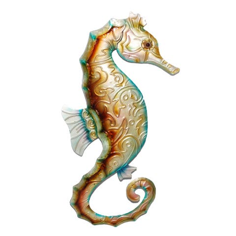 Wall Seahorse Tan With Blue - 6 x 1 x 12