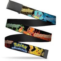 Blank Black  Buckle Pokemon Pikachu & Kanto Starter Pokemon Type Black Web Belt