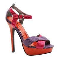 Luichiny Women's Bow Tie Pink/Purple/Orange Snake Print Imi Leather