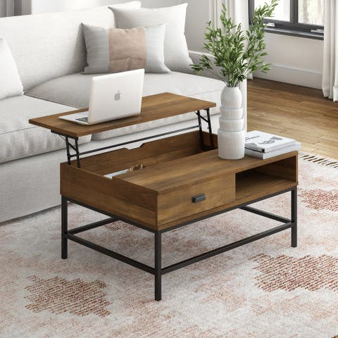 CorLiving Fort Worth Brown Wood Grain Finish Lift Top Coffee Table