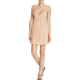 Free People Womens Mini Dress Embellished Criss Cross Back