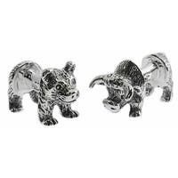 Sterling Bull Bear Body Cufflinks Animal