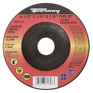 "Forney Industries 71848 Grinding Wheel 4-1/2"" x 1/8"" x 7/8"""