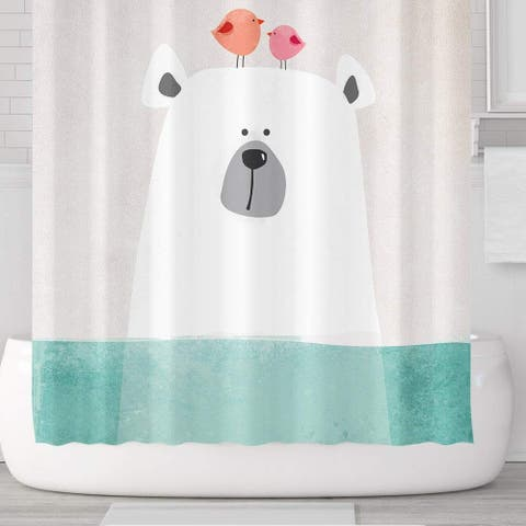 Polar Bear in Water Waterproof Shower Curtain Set with Hooks 71''x71'' - Multi-Color