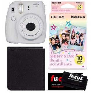 Fujifilm Instax Mini 9 (Smokey White) Instant Camera w/ Accessory Bundle