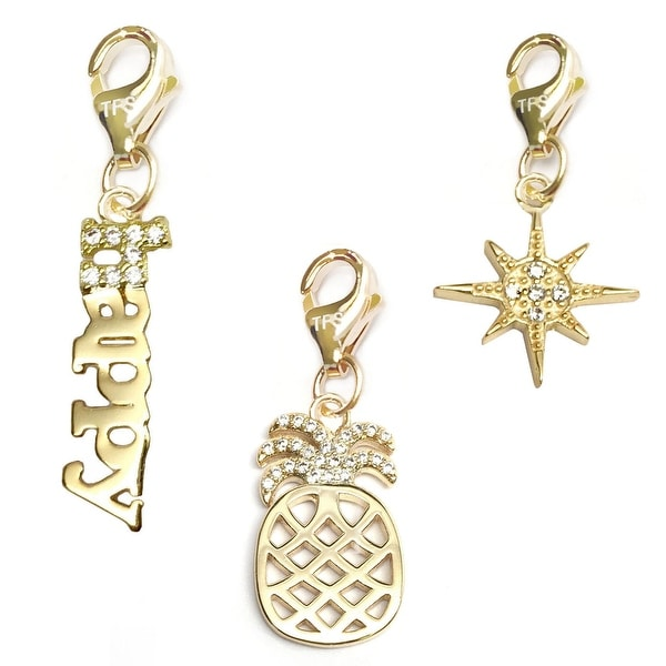 Julieta Jewelry Pineapple, Happy, Sunburst 14k Gold Over Sterling Silver Clip-On Charm Set
