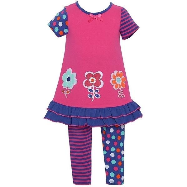 Baby Girls Fuchsia Dotted Stripe Floral 2 Pc Legging Set 12M