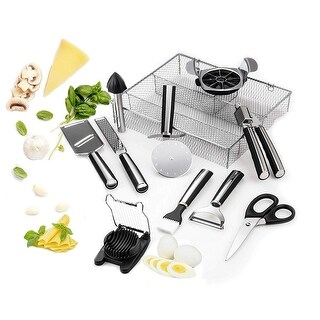 Culinary Edge 11 Piece Complete Kitchen Essentials Stainless Steel Tool Gadget Set W/ Quick Drying Mesh Storage Box
