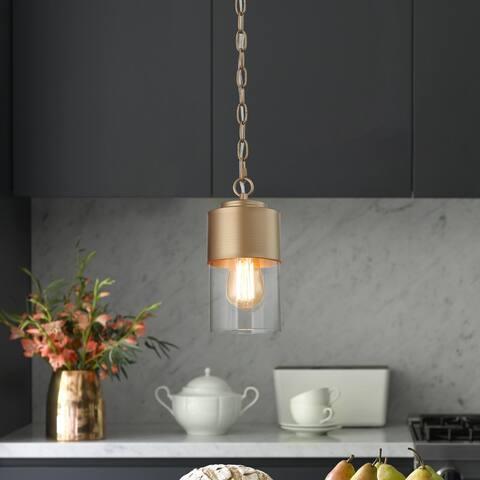 Modern Gold 1-light Glam Pendant Glass Ceiling Lights for Dining Room - D5'' x H71''