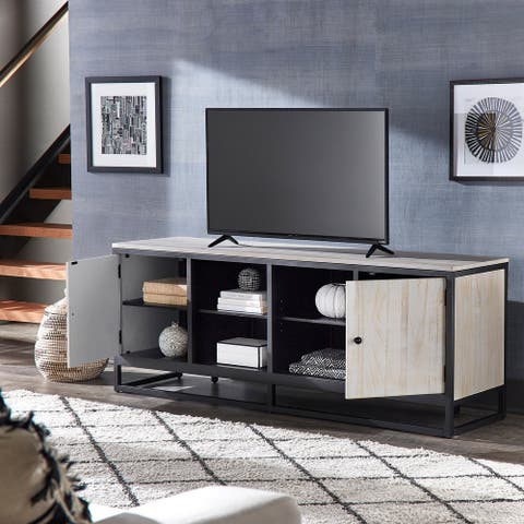 Micah Distressed Finish Black Metal 70-inch TV Stand by iNSPIRE Q Modern