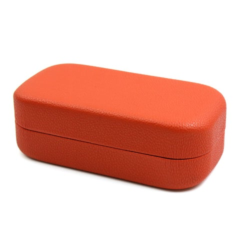Orange Portable Unisex Faux Leather Sunglasses Box Container Case Protector Gift