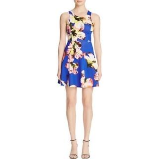 Aqua Womens Scuba Dress Neon Floral