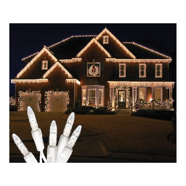 Christmas at Winterland S-ICMMPW-IW Standard Icicle Lights 5 Mm Conical LED White Faceted 70 Lights White Wire 22 Gauge