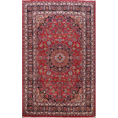 "Floral Mashad Persian Red Home Decor Area Rug Wool Hand-Knotted - 6'5"" x 9'8"""