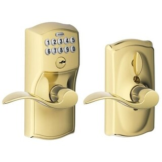 Schlage FE595V-CAM-ACC Camelot Keypad Entry with Flex-Lock Door Lever Set with Accent Interior Lever