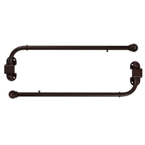 "1/2"" Adjustable Swing Arm Window Treatment Curtain Rod, 2-Pack"