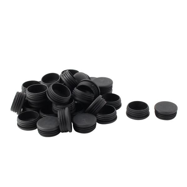 Plastic Round Tube Insert Blanking End Protectors Caps Black 48mm 36 PCS