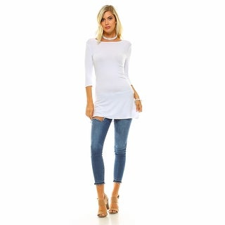 Isaac Liev Women's 3/4 Sleeve Tunic Top with Side Slits