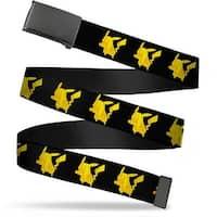 Blank Black  Buckle Pikachu Silhouette Black Yellows Webbing Web Belt