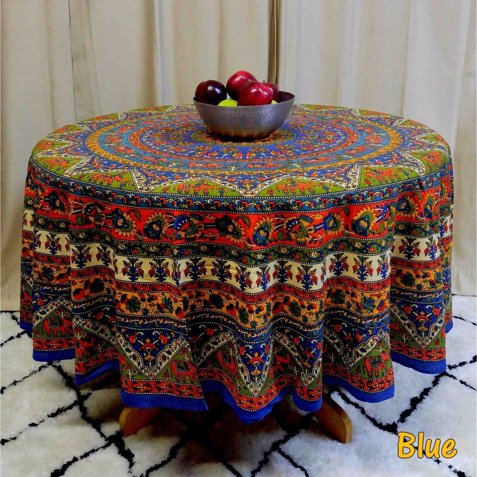 "Handmade Mandala Floral and Elephant Printed Cotton Tablecloth available in Red Blue & Brown in two sizes 76"" Round & 90"" Round - Thumbnail 12"