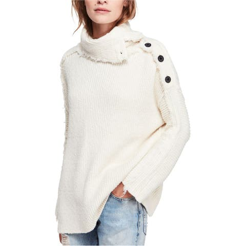 Free People Womens On My Side Pullover Sweater, Off-white, Large