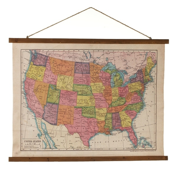 """Set of 2 Multicolored Retro Canvas Map of U.S. Hanging Wall Decoration 39"""" - N/A"""