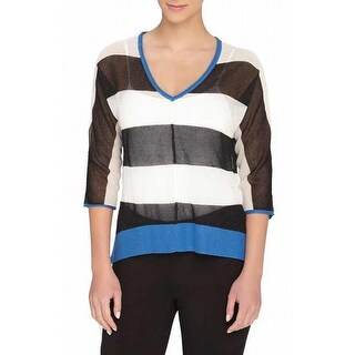 Catherine Malandrino NEW Black Womens Large L Open Stitch V-Neck Sweater