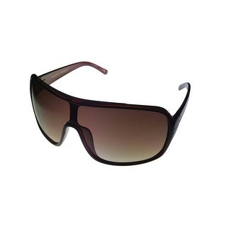 Perry Ellis Mens Sunglass PE11 2 Brown Plastic Shield, Brown Gradient Lens - Medium