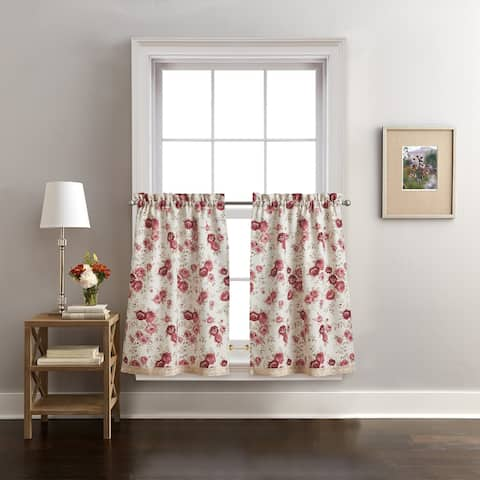 Antique Rose Kitchen Curtain Valance and Tier Pair Curtain Collection